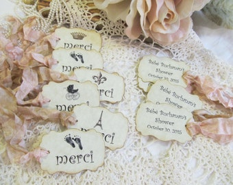 French Baby Favor Tags Merci Parchment Gift Baby Shower Tags - Set of 18 - Choose Ribbons & Style - gender neutral sprinkle paris shower