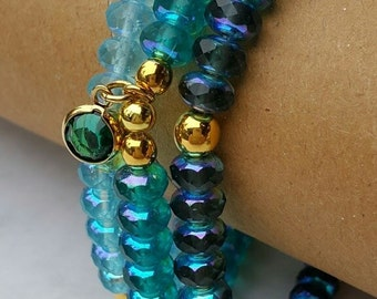 Mystic Turquoise Sea Green Bracelet, Seed Bead Bracelet, Rondelle Bracelet