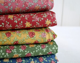 """Cotton Fabric Country Mini Rose  by the yards 44"""" Cozy Country Mini Rose"""