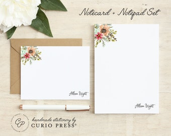 Personalized Stationery Set / Notecard and Notepad Stationary Set / Floral Women's Cute Cards // AQUA FLORA 2-SET / Flat + Pad