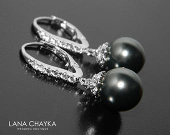 Black Pearl Earrings, Pearl CZ Leverback Wedding Earrings, Swarovski Black Pearl Silver Earrings, Bridal Bridesmaids Black Pearl Jewelry