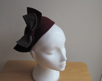 Cute Wine and Grey Vintage Inspired 1940s/1950s Hat