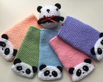 Single cute panda phone sleeve. iPhone 6, 6s, 7, 7s, 8 pouch. Kawaii crocheted phone case, various colours.