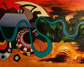 Africa, Original painting, Abstract oil painting, Сanvas