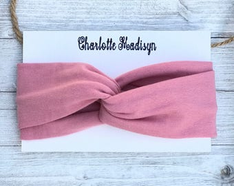 Rose Pink Turban Headband, Baby Turban Style Headband, Toddler Dark Rose Turban, Turban Headband