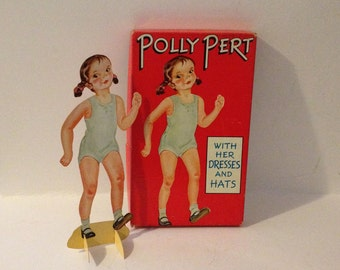 Vintage 1940's Polly Pert Stand Up Paper Doll Sam Gabriel Sons Co No. D93 with Dresses Hats Accesories & Outfits Wardrobe