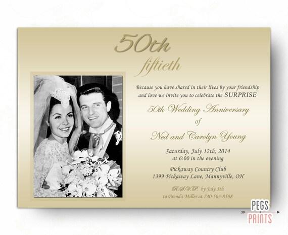 Elegant Surprise Wedding Anniversary Invitation Surprise 50th