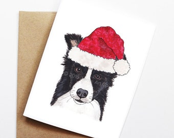 Christmas Card - Border Collie, Dog Christmas Card, Cute Christmas Card, Holiday Card, Xmas Card, Seasonal Card, Christmas Card Set