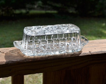 Vintage Star of David Glass Butter Dish Pressed Glass Anchor Hocking Tea Party Wedding  PanchosPorch