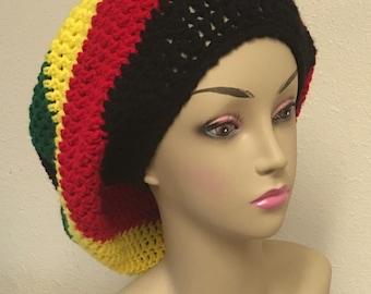 Handcrafted Crochet Rasta slouchy Hat Tam