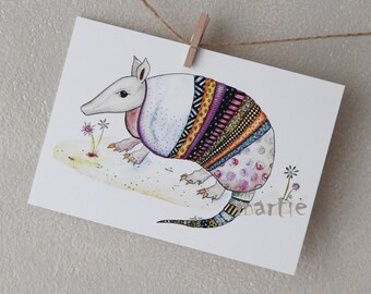 Armadillo - Postcard - Art Postcards - Cute Card - Funny Postcards - Blank Postcards - Watercolor Picture - Small - Armadillo Picture