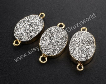 Wholesale Gold Plated Edge Oval Shape Silver Natural Titanium Agate Druzy Connector Pendant Double Loops Drusy Bead Stone Finding G1073-S