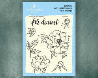 """For Dearest Peoney Set of Stamps 4x6"""" Clear Photopolymer, Clear Stamps, Clear Rubber Stamps, Stamp Set, Flower Stamps, Cherrylana"""