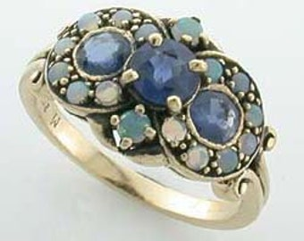 Antique Sapphire Ring with Opals, 9ct 9k Gold Opal Ring, Womens Edwardian Ring, Also Avail in Various Gems, R26, Custom