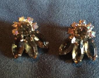 Sale - Vintage Irridescent Blue & Green  Rhinestone Clip Earrings