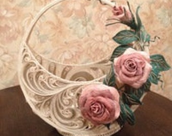 basket with roses from jute