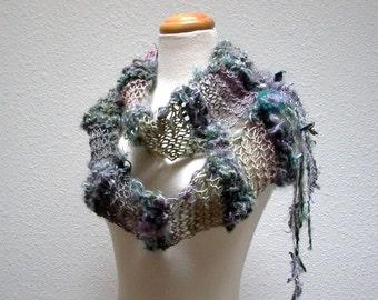 kismet. art yarn scarf . handknit enchanted bohemian fairy scarf . curly locks merino wool fiber art knit scarf . misty gray teal lavender
