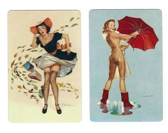 WEATHER GIRLS? (2) Vintage Single Swap Playing Card Scrapbooking Paper Ephemera