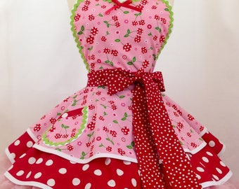 Retro Apron - Pink Picnic Party Pin Up Diner Apron, Woman's Apron,  Rockabilly - Pick a Cherry