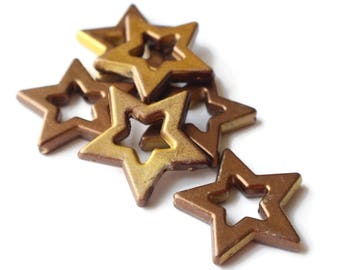 6 40mm Large Beads Gold Star Beads Painted Acrylic Beads The More You Know Multicolor Beads Celestial Beads Shooting Star Beads