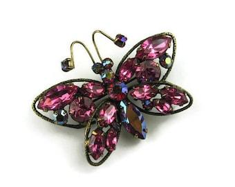 Regency Rhinestone Butterfly Brooch