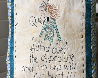 "Embroidered Pillow , Whimsical ""CHOCOLATE"" Pillow , Embroidered Inspirational Verse , Whimsical Room Decor"