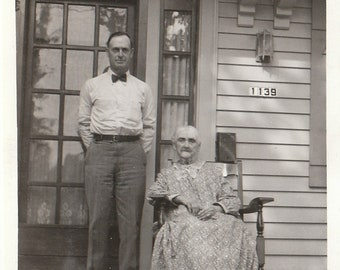 Original Vintage Photograph Snapshot Man Standing by Elderly Woman on Porch 1934