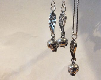 Angel Wing and Skull drop earrings.