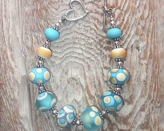 Handmade Glass Lampwork Bead and Sterling Silver Bracelet - Etched Ivory and Turquoise