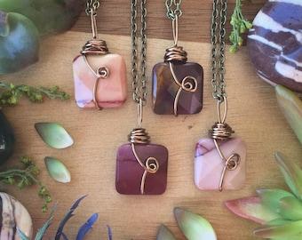 Mookaite necklace,   Mookaite jasper necklace, gemstone necklace