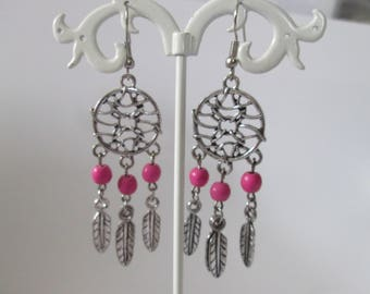 Earrings grabs dreams pink beads