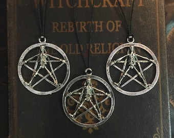 Pentagram necklace, protection amulet, wicca, wiccan jewelry, skull jewelry