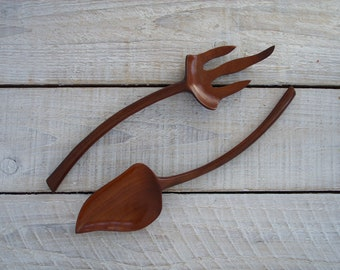 Vintage Wooden Spoon and Fork Set ~ Wood Salad Servers Retro Serving Utensils ~ Carved in Haiti ~ Exotic Boho Kitchen Decor