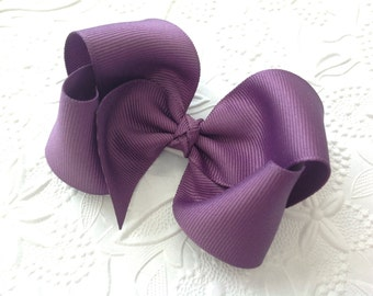 Plum hair bow or headband: Plum boutique hair bow, 4 inch hair bow on clip. Plum bow on headband, Purple bow on hard headband. Baby bow