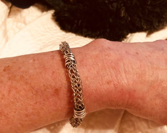 Sterling silver wire viking weave bracelet