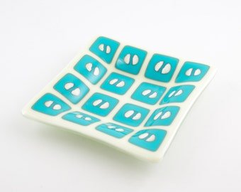 Retro Dish, Trinket Bowl, Jewelry Tray, Hipster Room Decor, Teal Decorations, Fused Glass, Modern Geometric, Cool Men's Gifts