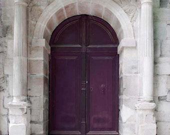 Purple Door, Paris Print, Paris Door, Gray, Purple, Paris Photography, Rustic, Purple Door Photo, Beige, Plum