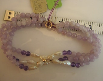 Lavendar Amethyst Bracelet with Fresh Water Pearls and 14k Gold 3 Strands Vintage