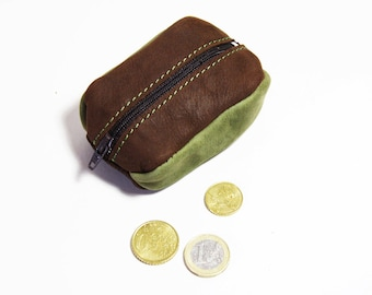 """Green and Brown eco-friendly leather coin purse. """"Coffee bean"""""""