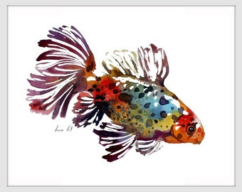 Goldfish Art Print ORIGINAL Watercolor Fish Painting by Tara Tet