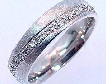 Gents .50 carat Diamond 14K White gold Comfort fit wedding band eternity style Mans Ring 9 grams 6mm  Sizes 6 thru 24 MMM