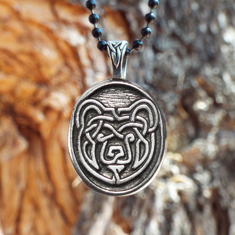 Bear necklace celtic bear pendant in fine pewter zoom biocorpaavc Image collections