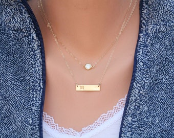 Personalized double layer CZ dot Bar necklace,Monogram Bar Necklace,custom initial bar necklace,full name rectangle bar,personalized note