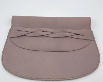 Mauve leather clutch Pink leather clutch Pink leather make up bag Gift for her