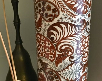 Lovely Hyalyn Pottery Cylinder Vase Retro Brown Black White Paisley Design Collectible Pottery Vase