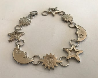 Vintage Celestial Moon Star Sun Sterling Silver 925 Bracelet Signed Marked 925