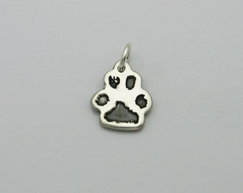 Sterling Silver Paw Print Charm, Pet Memorial Jewelry, Cat Paw Charm, Dog Paw Charm, Animal Footprint Charm, Paw Print Bracelet Charm,