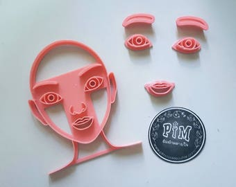Face Stamping with Eyebrow, Eye and Lip cutter