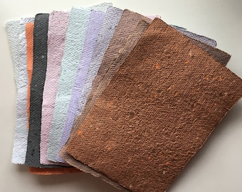 11 pieces Handmade Recycled Paper, Assortment 5 x 7 Sheets Ready to Ship