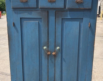 Primitive 1800's Hudson Valley NY original painted blue cupboard 67h46w16d Shipping is not free
